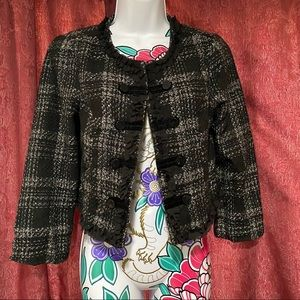 Charlotte Russe Black Gray Blazer Knit Plaid